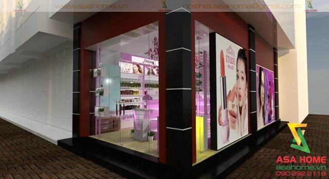 Hình ảnh tổng thể bên ngoài Thiết kế Shop Mỹ Phẩm tại quận 10 cho chị Trinh