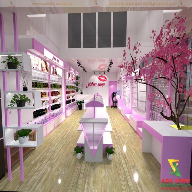 Hình ảnh tổng thể bên trong Thiết kế Shop Mỹ Phẩm tại quận 10 cho chị Trinh