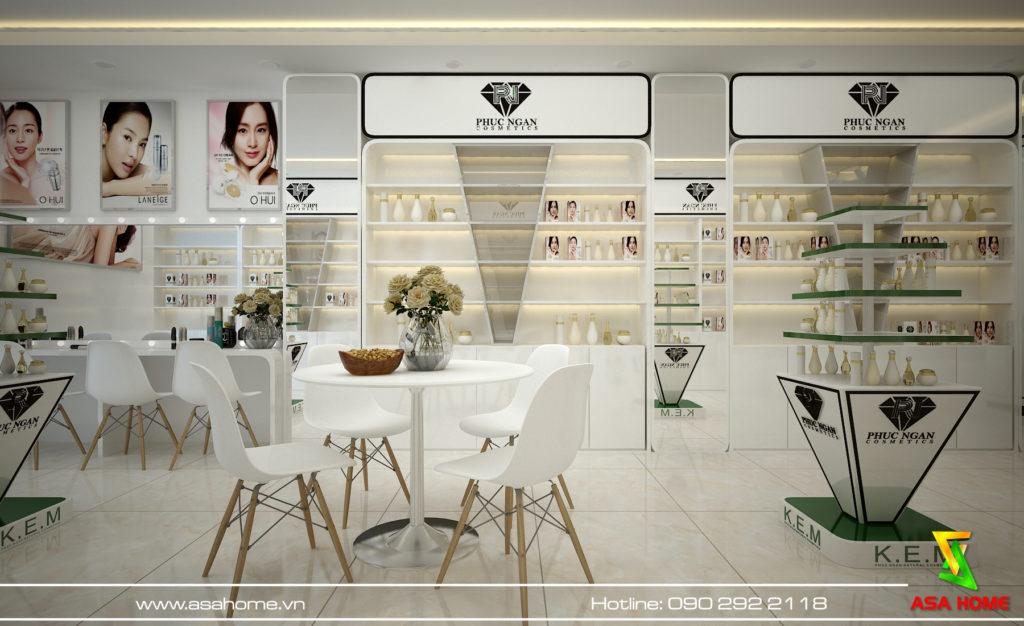Thiết kế nội thất shop mỹ phẩm - Phúc Ngân Cometics