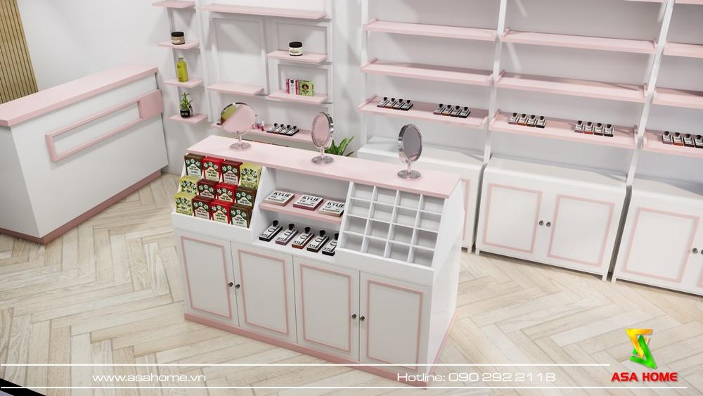 Tủ lớn chính giữa shop tạo lối đi cho khách hàng