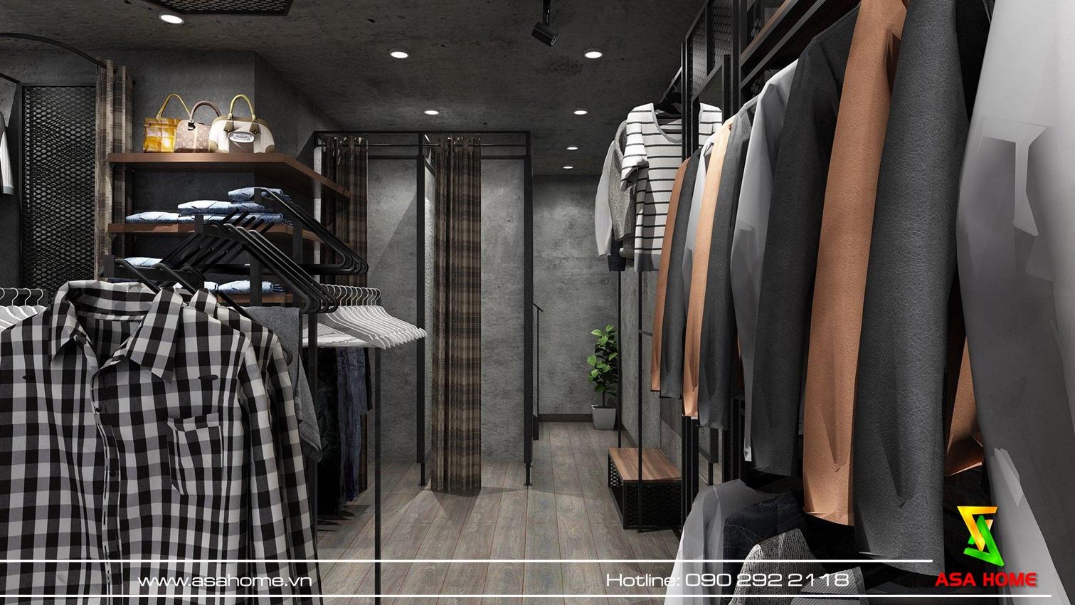 Thiết kế shop thời trang nam tại Bình Thạnh: kệ đặt sát tường