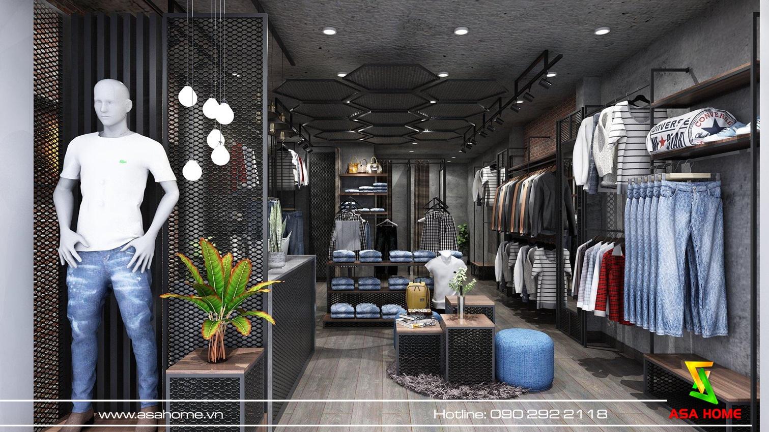Sào treo quần áo ở chính giữa shop hài hòa với không gian nộ thất cửa hàng