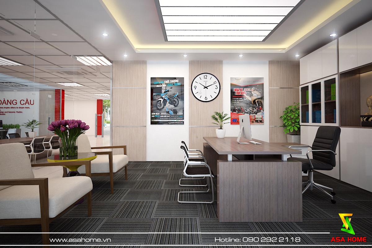 Khu vực khách chờ trong phòng giám đốc cũng được thiết kế tỉ mĩ