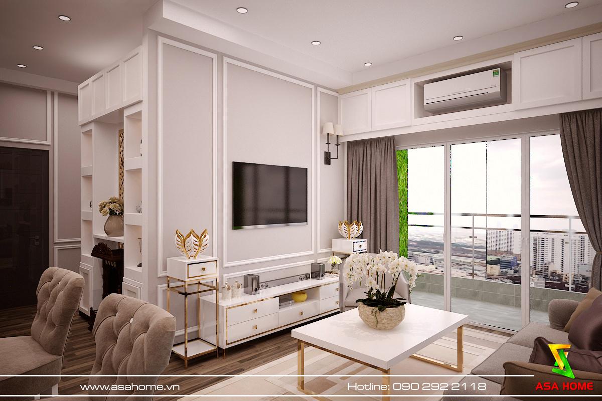 Phòng khách nhẹ nhàng và sang trọng