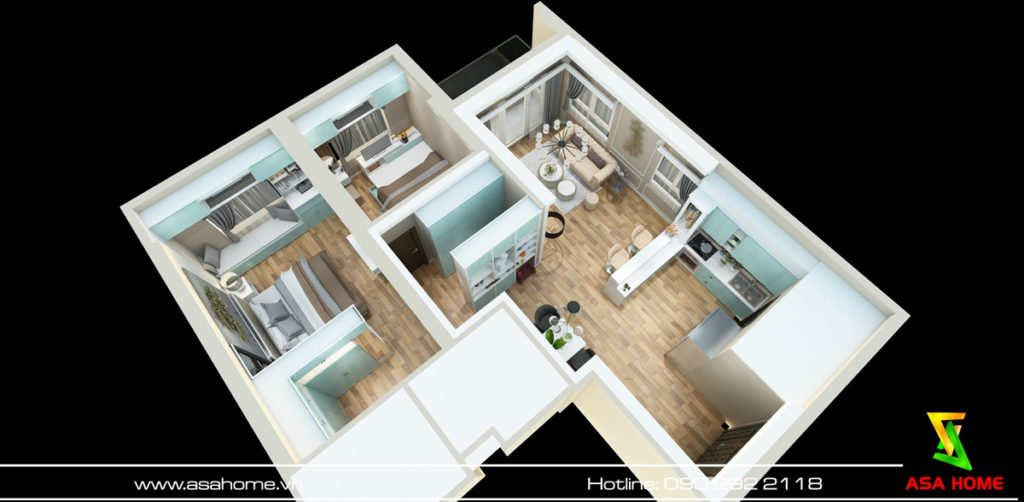 Layout tổng thể căn hộ 2 phòng ngủ