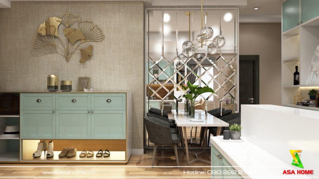 Thiết kế nội thất căn hộ xanh pastel nhã nhặn