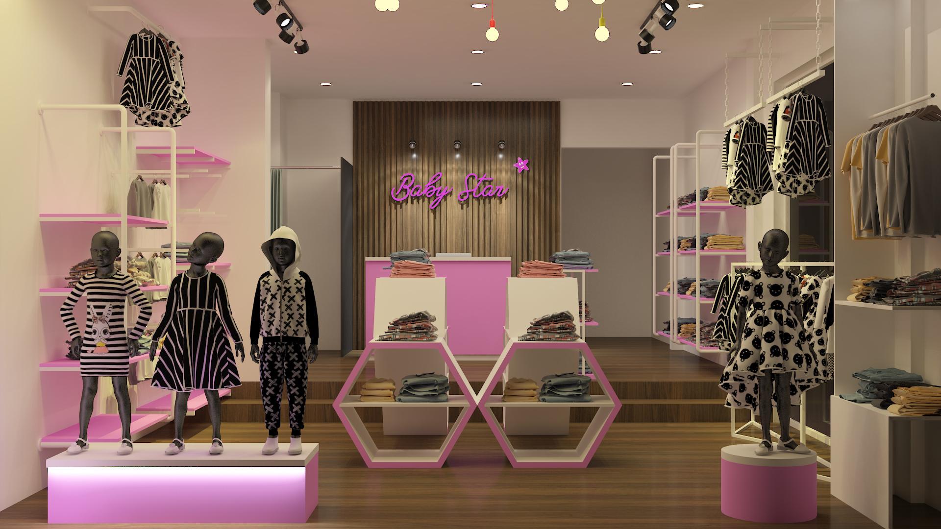 Thiết kế thi công shop thời trang trẻ em - Baby Star