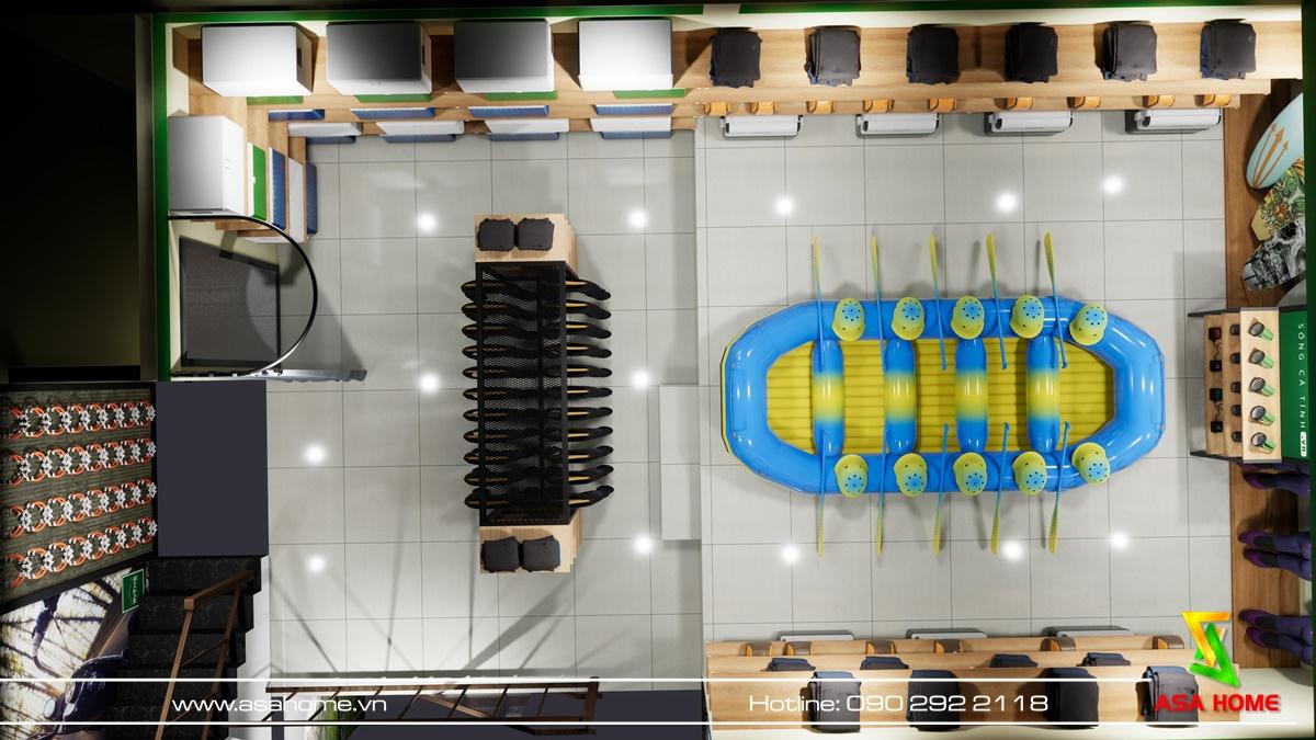 Top view thiết kế nội thất shop Wetrek ở tầng 1