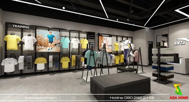 Thiết kế nội thất shop thời trang đồng bộ với màu sắc chủ đạo của shop