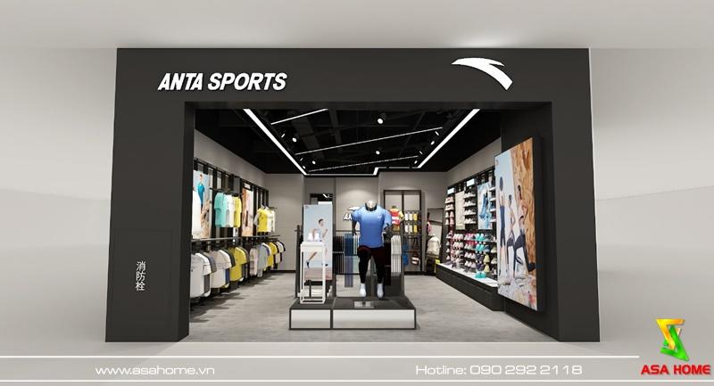 Thiết kế shop thời trang thể thao Anta - Mặt tiền cửa hàng