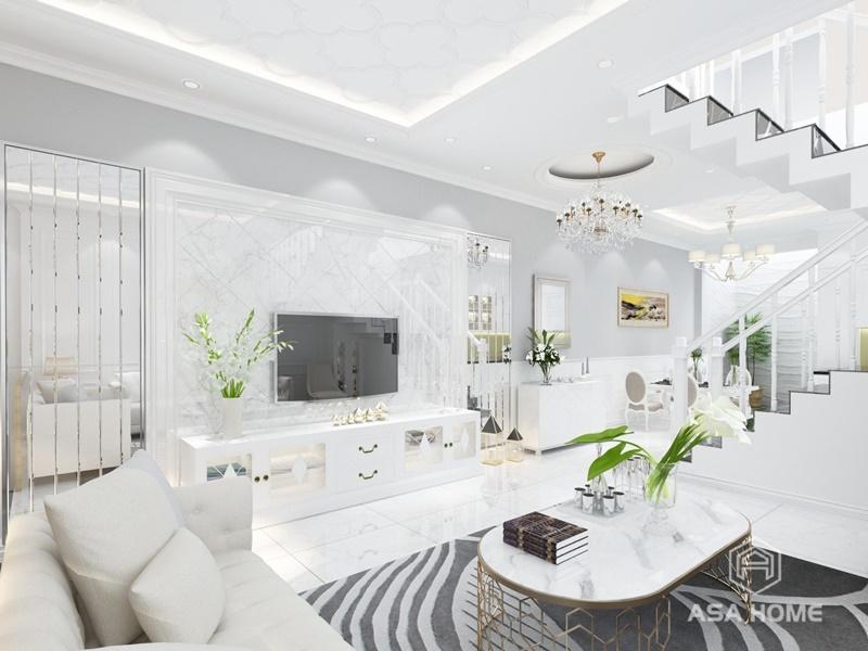 Hoa văn đá hoa cương làm tăng phần sang trongjcho phòng khách