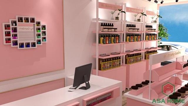 Phong cách thiết kế shop mỹ phẩm sáng tạo