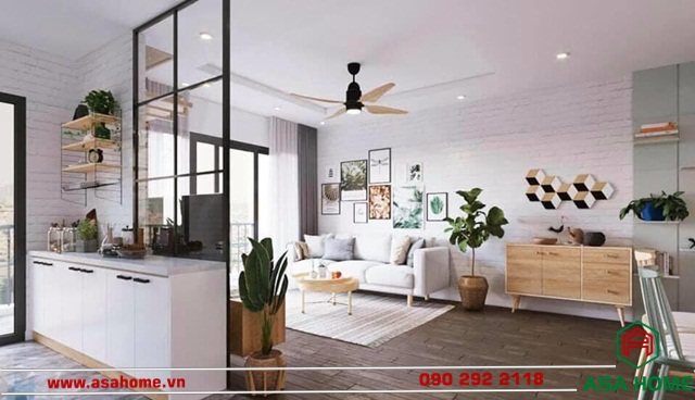 Thiết kế căn hộ với phòng khách tông màu gỗ tự nhiên