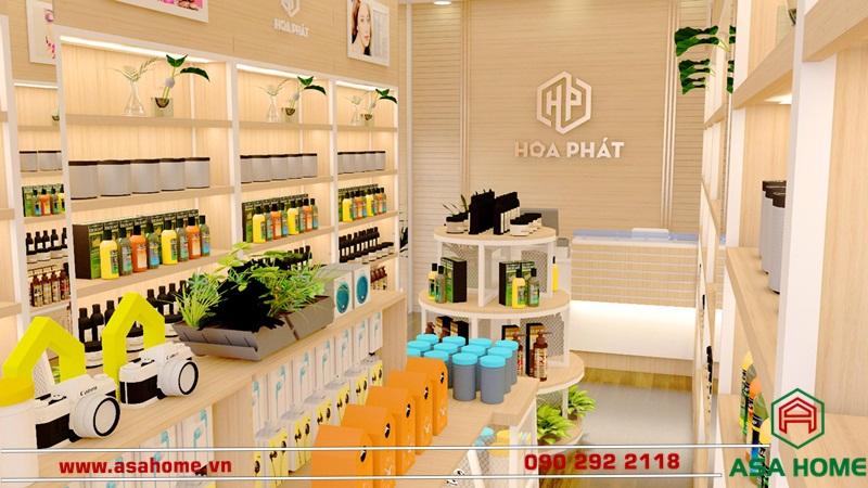 Cửa hàng mỹ phẩm Hòa Phát nổi bật với chất liệu gỗ