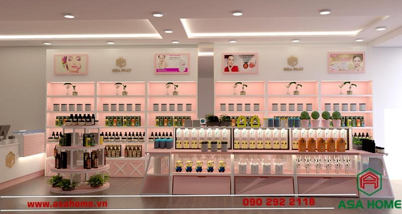 Mẫu thiết kế shop mỹ phẩm ấn tượng Hòa Phát