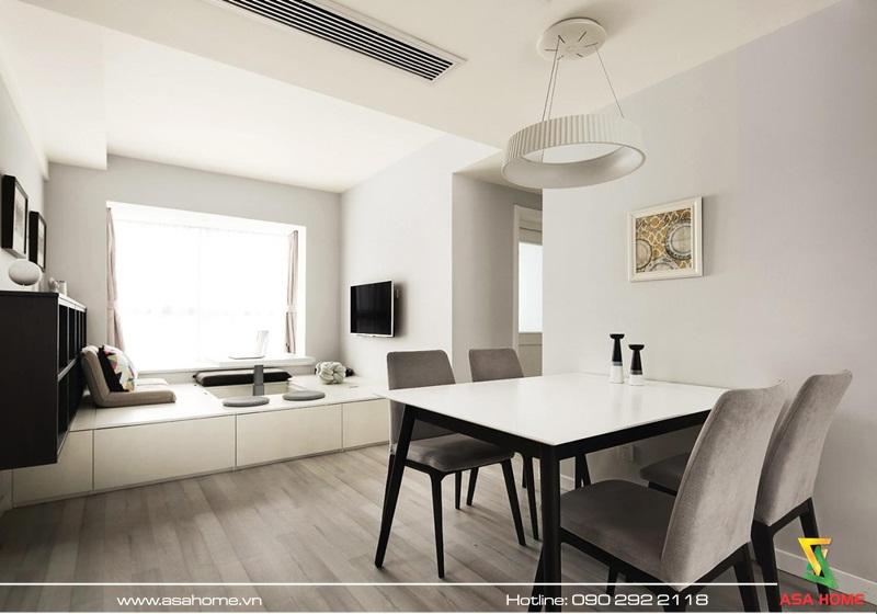 Phòng khách với tone trắng đen trang nhã