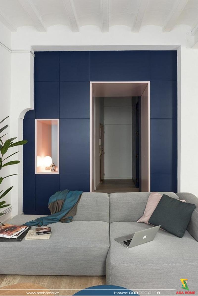 Không gian phòng cách cá tính với sofa màu ghi