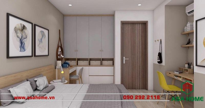 Phòng ngủ tiện nghi, ngăn nắp cùng với các thiết bị tiện ích hiện đại.
