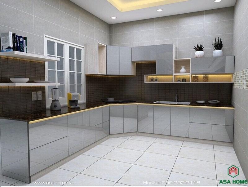 Tủ bếp nhôm kính mang lại độ bóng loáng, tạo hiệu ứng ánh sáng cho không gian thêm lung linh