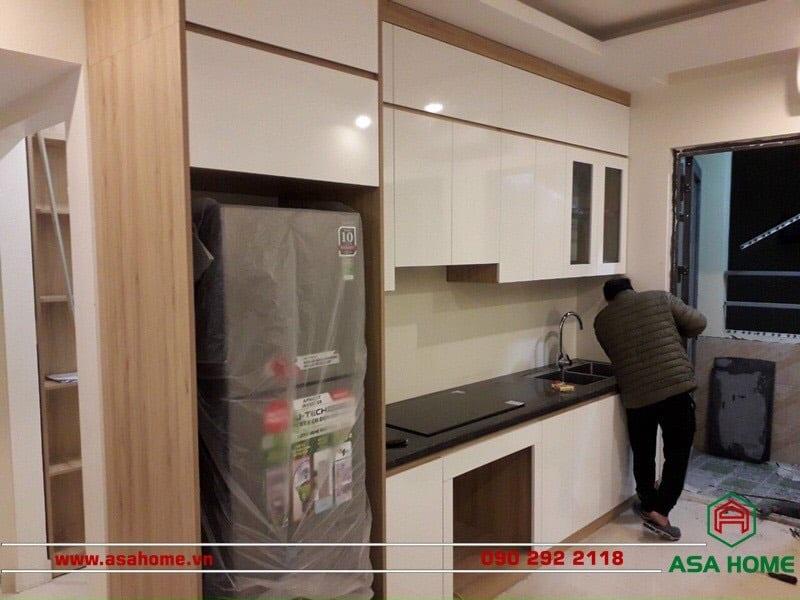 60 - 80cm là khoảng cách tiêu chuẩn giữa tủ bếp trên và tủ bếp dưới