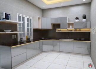 Tủ bếp nhôm kính nhẹ dễ di chuyển và tháo lắp để chỉnh sửa