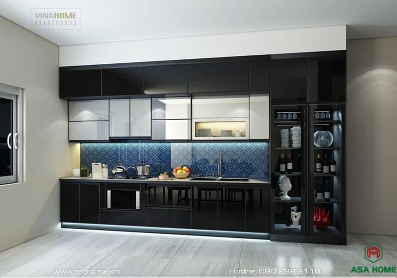 Lắp đặt tủ bếp nhôm kính